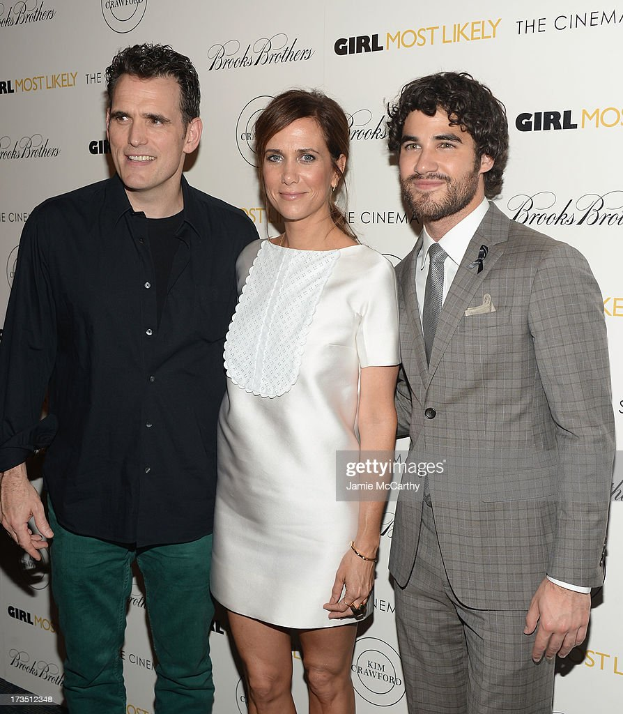 Actors <a gi-track='captionPersonalityLinkClicked' href=/galleries/search?phrase=Matt+Dillon&family=editorial&specificpeople=202099 ng-click='$event.stopPropagation()'>Matt Dillon</a>, <a gi-track='captionPersonalityLinkClicked' href=/galleries/search?phrase=Kristen+Wiig&family=editorial&specificpeople=4029391 ng-click='$event.stopPropagation()'>Kristen Wiig</a> and <a gi-track='captionPersonalityLinkClicked' href=/galleries/search?phrase=Darren+Criss&family=editorial&specificpeople=7341435 ng-click='$event.stopPropagation()'>Darren Criss</a> attend the screening of Lionsgate and Roadside Attractions' 'Girl Most Likely' hosted by The Cinema Society & Brooks Brothers at Landmark's Sunshine Cinema on July 15, 2013 in New York City.