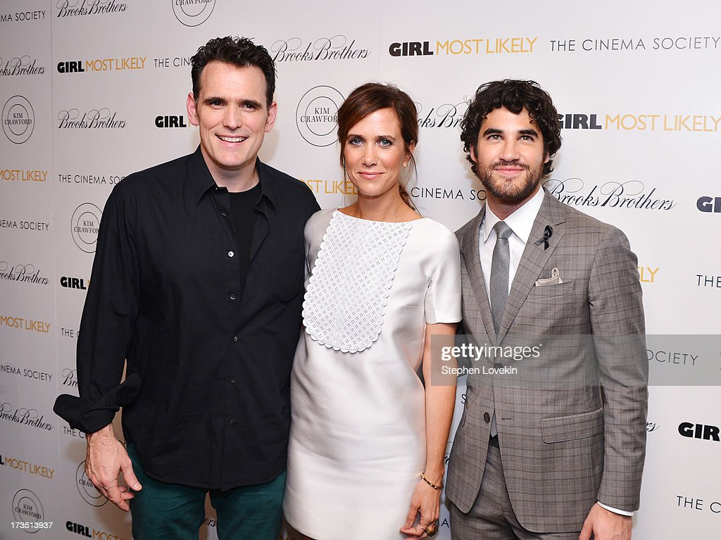 Actors <a gi-track='captionPersonalityLinkClicked' href=/galleries/search?phrase=Matt+Dillon+-+Actor&family=editorial&specificpeople=202099 ng-click='$event.stopPropagation()'>Matt Dillon</a>, <a gi-track='captionPersonalityLinkClicked' href=/galleries/search?phrase=Kristen+Wiig&family=editorial&specificpeople=4029391 ng-click='$event.stopPropagation()'>Kristen Wiig</a>, and <a gi-track='captionPersonalityLinkClicked' href=/galleries/search?phrase=Darren+Criss&family=editorial&specificpeople=7341435 ng-click='$event.stopPropagation()'>Darren Criss</a> attend the screening of Lionsgate and Roadside Attractions' 'Girl Most Likely' hosted by The Cinema Society & Brooks Brothers at Landmark's Sunshine Cinema on July 15, 2013 in New York City.
