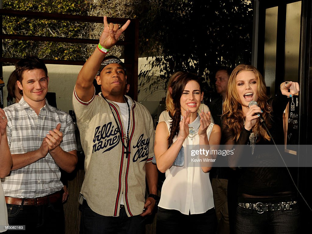 Actors Matt Lanter, Tristan Wilds, Jessica Lowndes and AnnaLynne McCord pose at the CW Network's '90210' Season 5 Wrap Party on March 3, 2013 in Los Angeles, California.