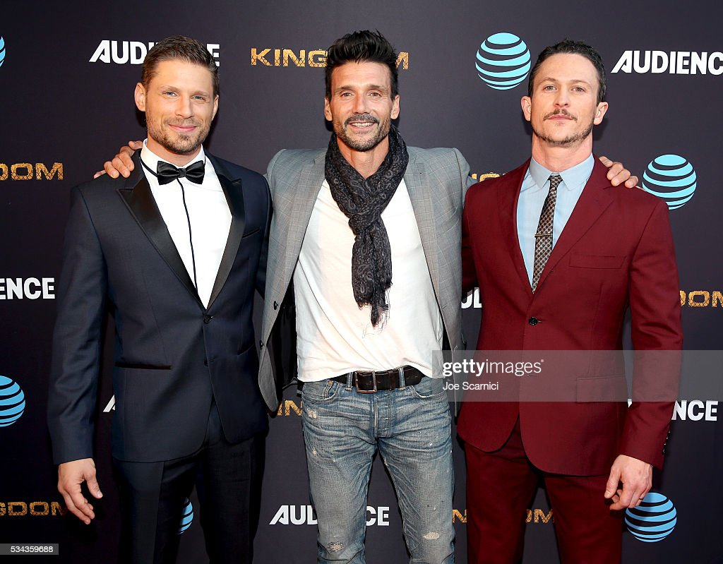 Actors Matt Lauria Frank Grillo and Jonathan Tucker attend as ATT Audience Network celebrates KINGDOM on May 25 2016 in Los Angeles California