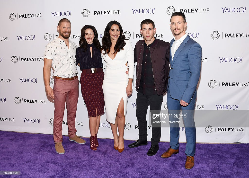 Actors Matt Lauria Joanna Going Natalie Martinez Nick Jonas and Jonathan Tucker arrive at The Paley Center for Media's An Evening With 'Kingdom' at...