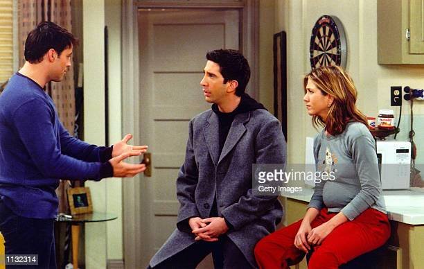 Actors Matt Le Blanc David Schwimmer and Jennifer Aniston are shown in a scene from the NBC series 'Friends' The series received 11 Emmy nominations...