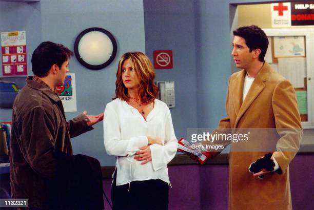 Actors Matt Le Blanc Jennifer Aniston and David Schwimmer are shown in a scene from the NBC series 'Friends' The series received 11 Emmy nominations...