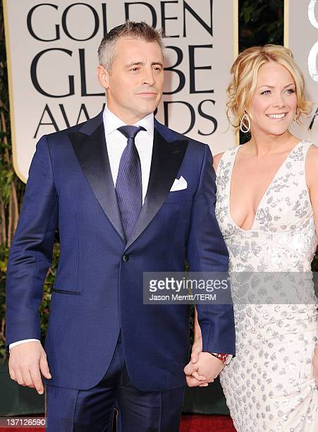 Actors Matt LeBlanc and Andrea Anders arrive at the 69th Annual Golden Globe Awards held at the Beverly Hilton Hotel on January 15 2012 in Beverly...