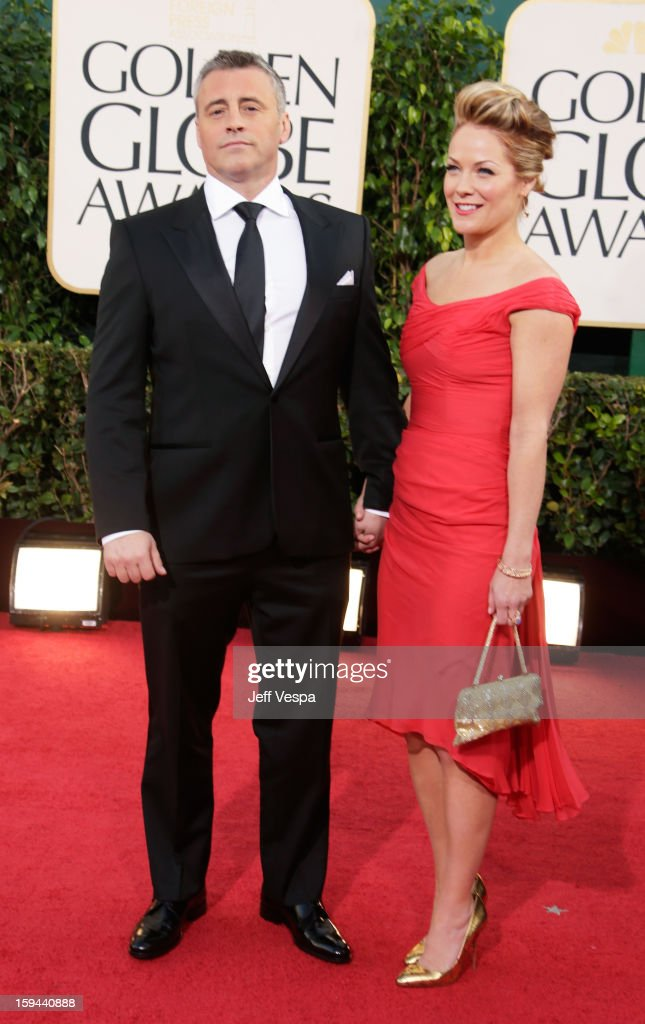 Actors Matt LeBlanc (L) and Andrea Anders arrive at the 70th Annual Golden Globe Awards held at The Beverly Hilton Hotel on January 13, 2013 in Beverly Hills, California.
