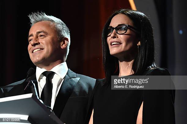 Actors Matt LeBlanc and Courtney Cox present onstage during the 2016 Writers Guild Awards at the Hyatt Regency Century Plaza on February 13 2016 in...