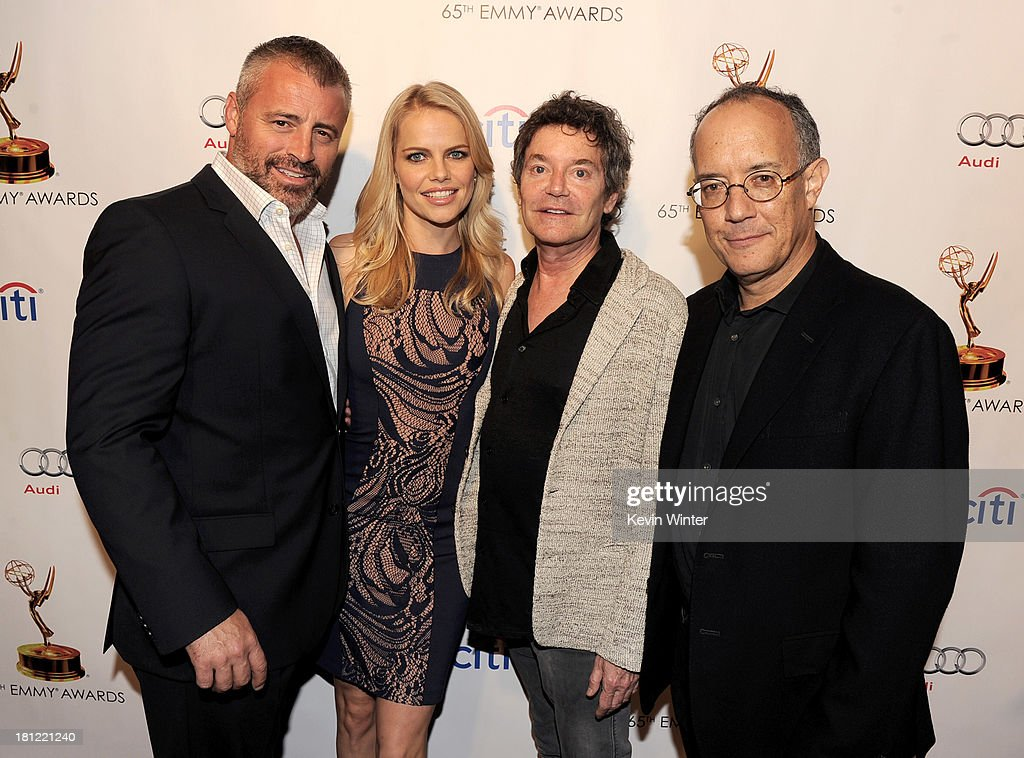 Actors Matt LeBlanc, Mircea Monroe, writers Jeffrey Klarik and David Crane arrive at the 65th Primetime Emmy Awards Writer Nominees reception at the Academy of Television Arts & Sciences on September 19, 2013 in No. Hollywood, California.