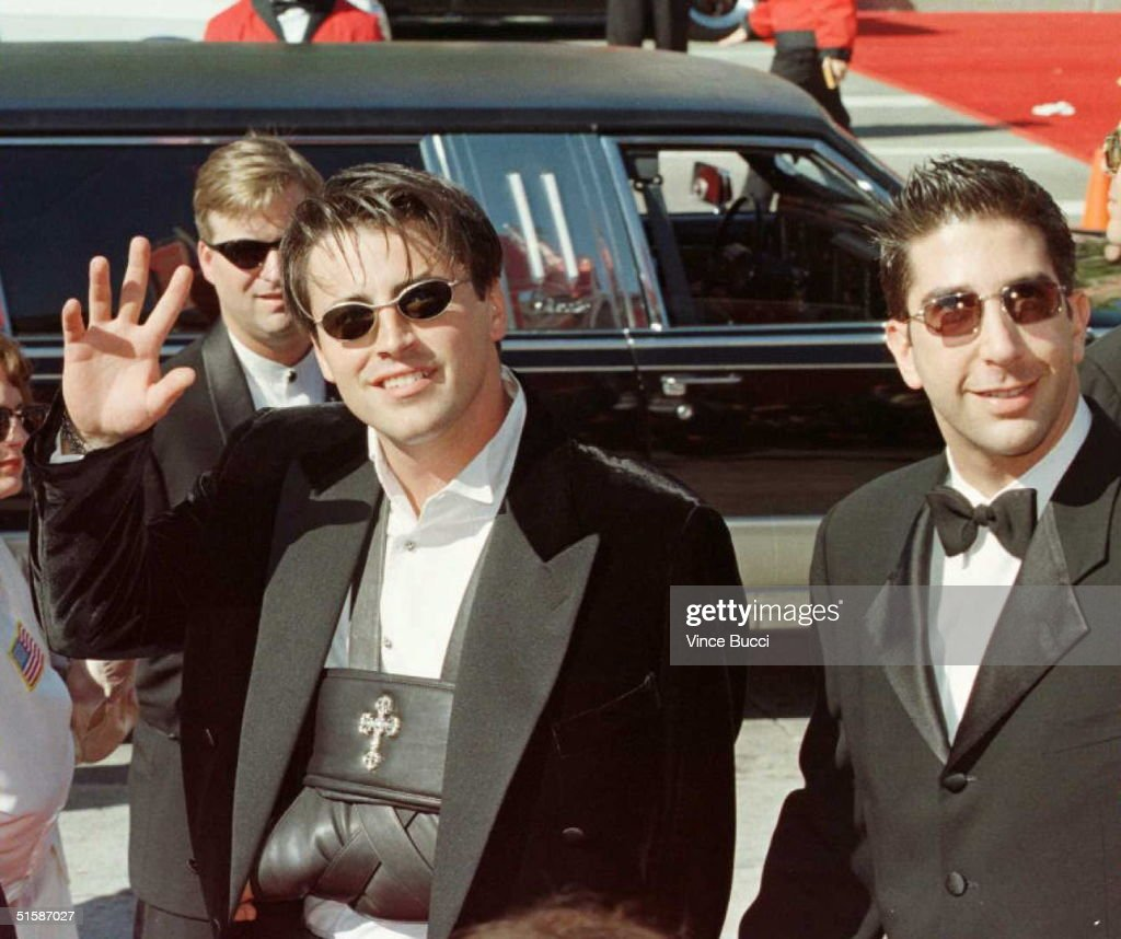 Actors Matt LeBlanc (L) with a broken arm and David Schwimmer (R), the stars of 'Friends,' arrive for the 48th Annual Emmy Awards 08 September in Pasadena, California. AFP PHOTO/Vince BUCCI