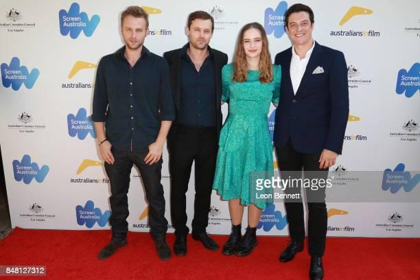 Actors Matt Levett Oliver Ackland Ashleigh Cummings and James Mackay attends The 2017 Australian Emmy Nominee Sunset Reception on September 16 2017...