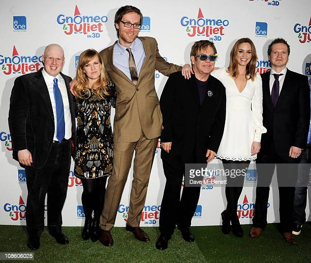Actors Matt Lucas Ashley Jensen Stephen Merchant executive producer Sir Elton John actress Emily Blunt and producer Steve Hamilton Shaw attend the UK...
