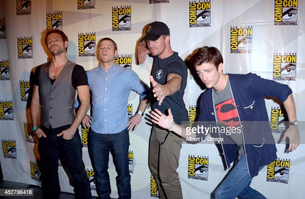 Actors Matt Ryan Ben McKenzie Stephen Amell and Grant Gustin attend Warner Bros Television DC Entertainment world premiere presentation during...
