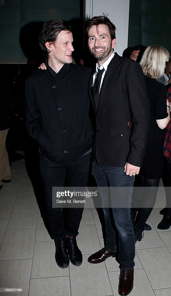 Actors <a gi-track='captionPersonalityLinkClicked' href=/galleries/search?phrase=Matt+Smith+-+Actor&family=editorial&specificpeople=6877373 ng-click='$event.stopPropagation()'>Matt Smith</a> (L) and <a gi-track='captionPersonalityLinkClicked' href=/galleries/search?phrase=David+Tennant&family=editorial&specificpeople=220227 ng-click='$event.stopPropagation()'>David Tennant</a> attend an after party celebrating the press night performance of 'Our Boys' at One Aldwych on October 3, 2012 in London, England.