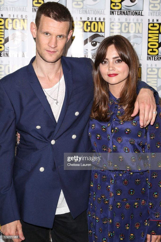 Actors <a gi-track='captionPersonalityLinkClicked' href=/galleries/search?phrase=Matt+Smith+-+Actor&family=editorial&specificpeople=6877373 ng-click='$event.stopPropagation()'>Matt Smith</a> (L) and Jenna Coleman pose during the 'Doctor Who' press line during day 4 of Comic-Con International on July 21, 2013 in San Diego, California.