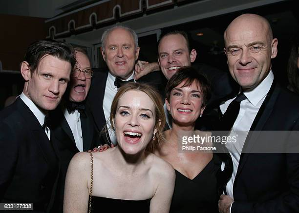 Actors Matt Smith Jared Harris John Lithgow Claire Foy Harry HaddenPaton Victoria Hamilton and Pip Torrens attend The Weinstein Company Netflix's...