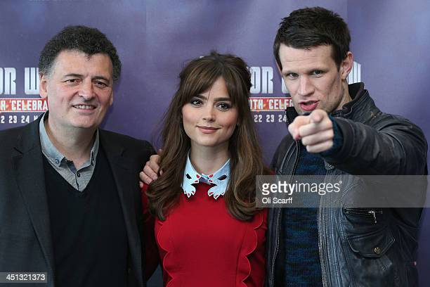 Actors Matt Smith who plays 'Doctor Who' and Jenna Coleman who plays 'Clara Oswald' in the science fiction series 'Doctor Who' pose for a photograph...
