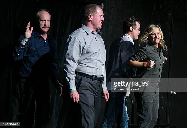 Actors Matt Walsh Ian Roberts Amy Poehler and Matt Besser attend the Upright Citizens Brigade Theatre Sunset grand opening celebration at Upright...