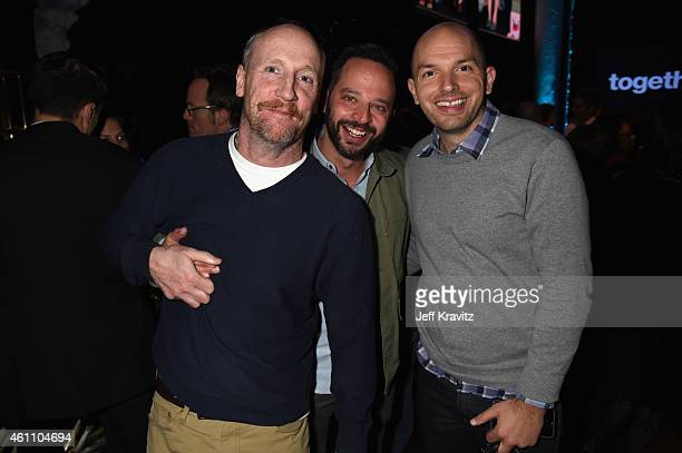 Actors Matt Walsh Nick Kroll and Paul Scheer attend HBO's 'Togetherness' Los Angeles Premiere And After Party at Avalon on January 6 2015 in...