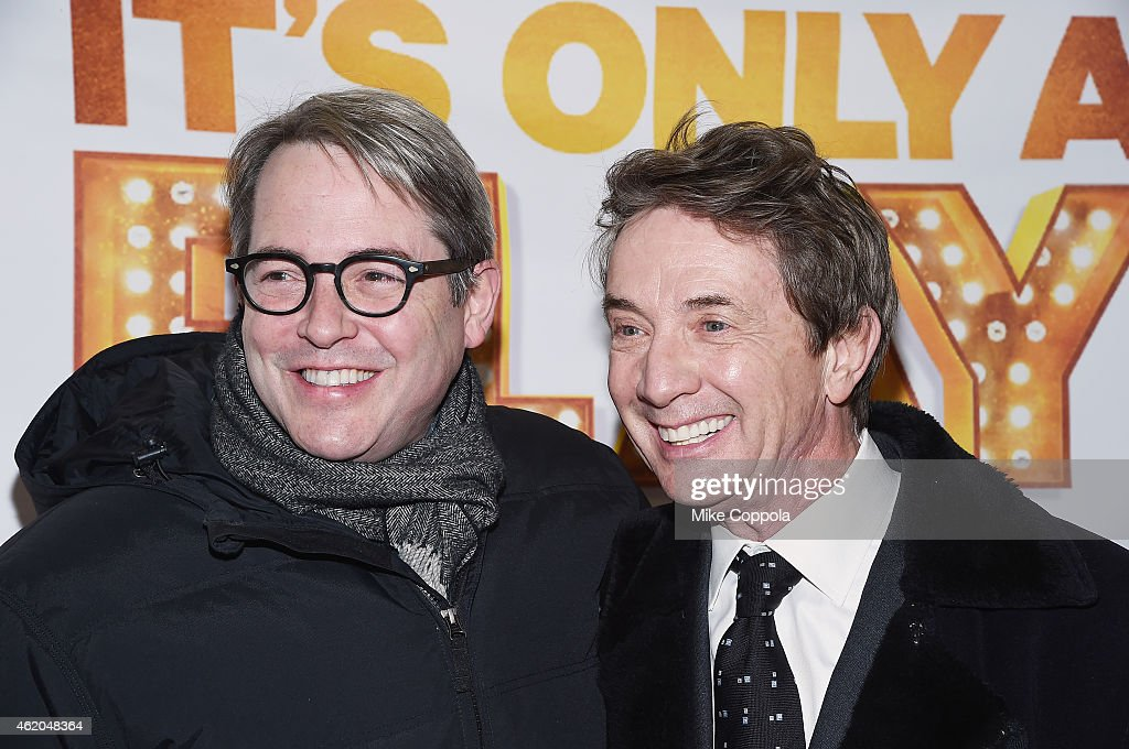 Actors Matthew Broderick (L) and Martin Short attend 'It's Only A Play' Broadway Re-Opening Night at The Bernard B. Jacobs Theatre on January 23, 2015 in New York City.