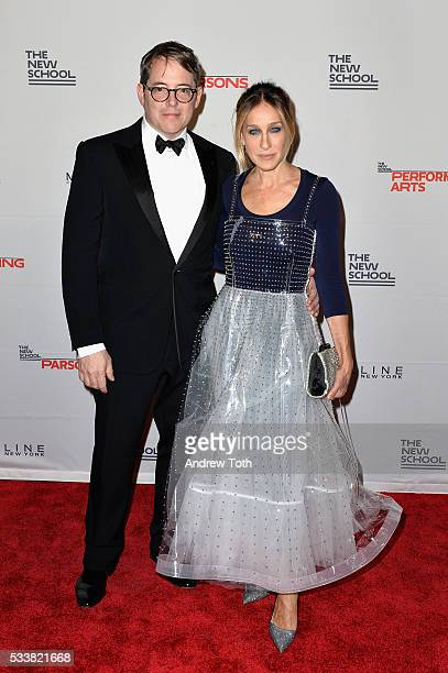 Actors Matthew Broderick and Sarah Jessica Parker attend the 2016 Parsons Benefit at Chelsea Piers on May 23 2016 in New York City