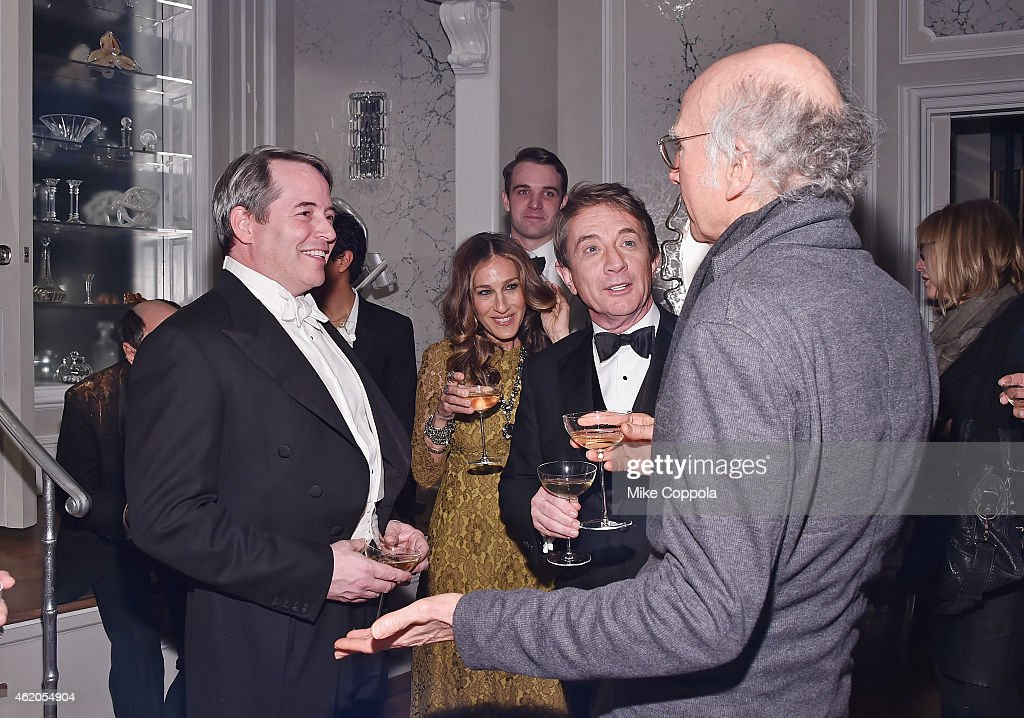 Actors Matthew Broderick, Sarah Jessica Parker, Martin Short, and Larry David speak at 'It's Only A Play' Broadway Re-Opening Night at The Bernard B. Jacobs Theatre on January 23, 2015 in New York City.