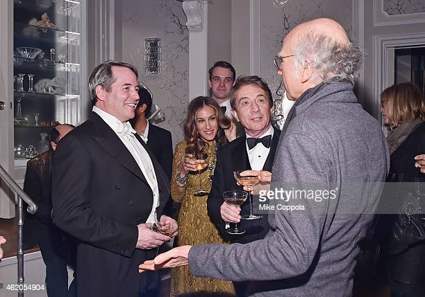Actors Matthew Broderick Sarah Jessica Parker Martin Short and Larry David speak at 'It's Only A Play' Broadway ReOpening Night at The Bernard B...