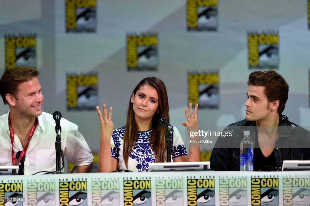 Actors Matthew Davis Nina Dobrev and Paul Wesley attend CW's 'The Vampire Diaries' panel during ComicCon International 2014 at the San Diego...