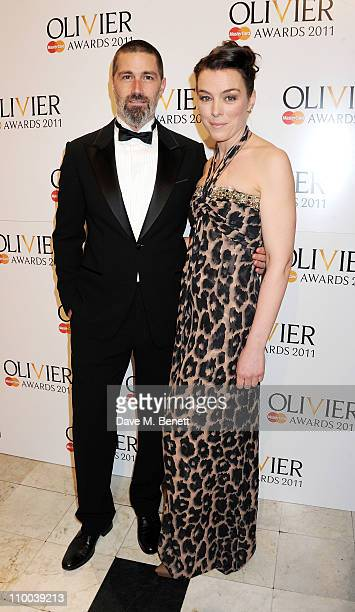 Actors Matthew Fox and Olivia Williams arrive at the Olivier Awards 2011 at Theatre Royal Drury Lane on March 13 2011 in London England