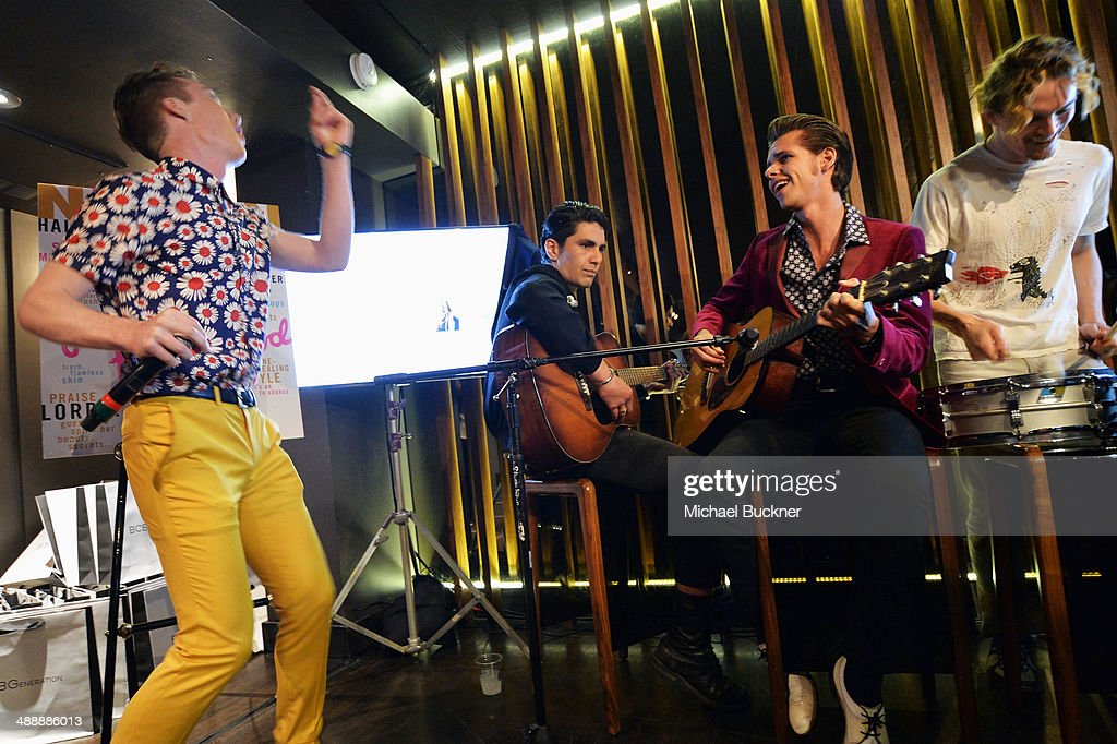 Actors Matthew Grathwol, Tui Asau, Julian De La Celle and Alexander Nifong attend the Nylon + BCBGeneration May Young Hollywood Party at Hollywood Roosevelt Hotel on May 8, 2014 in Hollywood, California.