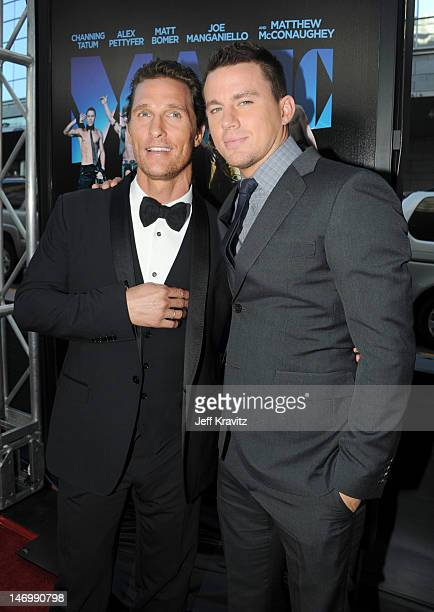 Actors Matthew McConaughey and Channing Tatum arrive at the closing night gala premiere of 'Magic Mike' at the 2012 Los Angeles Film Festiva held at...