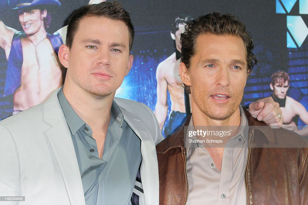 Actors <a gi-track='captionPersonalityLinkClicked' href=/galleries/search?phrase=Matthew+McConaughey&family=editorial&specificpeople=201663 ng-click='$event.stopPropagation()'>Matthew McConaughey</a> and <a gi-track='captionPersonalityLinkClicked' href=/galleries/search?phrase=Channing+Tatum&family=editorial&specificpeople=549548 ng-click='$event.stopPropagation()'>Channing Tatum</a> attend the 'Magic Mike' photocall at the Hotel De Rome on July 12, 2012 in Berlin, Germany.