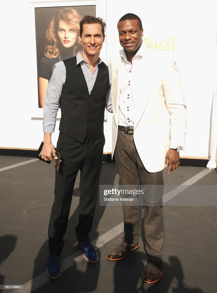 Actors Matthew McConaughey and Chris Tucker pose in the Piaget Lounge during The 2013 Film Independent Spirit Awards on February 23, 2013 in Santa Monica, California.