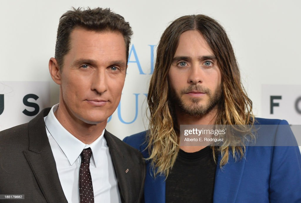 Actors <a gi-track='captionPersonalityLinkClicked' href=/galleries/search?phrase=Matthew+McConaughey&family=editorial&specificpeople=201663 ng-click='$event.stopPropagation()'>Matthew McConaughey</a> and <a gi-track='captionPersonalityLinkClicked' href=/galleries/search?phrase=Jared+Leto&family=editorial&specificpeople=214764 ng-click='$event.stopPropagation()'>Jared Leto</a> attend Focus Features' 'Dallas Buyers Club' premiere at the Academy of Motion Picture Arts and Sciences on October 17, 2013 in Beverly Hills, California.