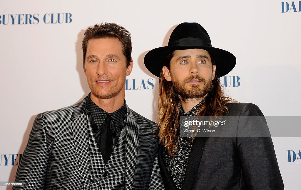Actors <a gi-track='captionPersonalityLinkClicked' href=/galleries/search?phrase=Matthew+McConaughey&family=editorial&specificpeople=201663 ng-click='$event.stopPropagation()'>Matthew McConaughey</a> and <a gi-track='captionPersonalityLinkClicked' href=/galleries/search?phrase=Jared+Leto&family=editorial&specificpeople=214764 ng-click='$event.stopPropagation()'>Jared Leto</a> attend the 'Dallas Buyers Club' UK Premiere at the Curzon Mayfair on January 29, 2014 in London, England.
