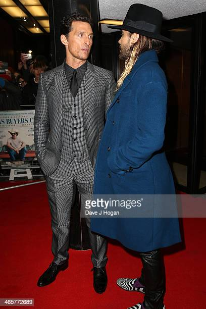 Actors Matthew McConaughey and Jared Leto attend the UK Premiere of 'Dallas Buyers Club' at The Curzon Mayfair on January 29 2014 in London England
