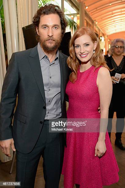Actors Matthew McConaughey and Jessica Chastain attend the 15th Annual AFI Awards at Four Seasons Hotel Los Angeles at Beverly Hills on January 9...