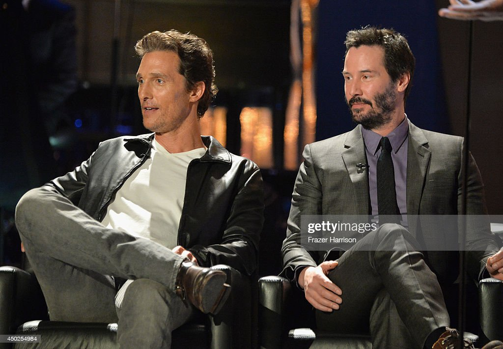 Actors Matthew McConaughey (L) and Keanu Reeves onstage during Spike TV's 'Guys Choice 2014' at Sony Pictures Studios on June 7, 2014 in Culver City, California.
