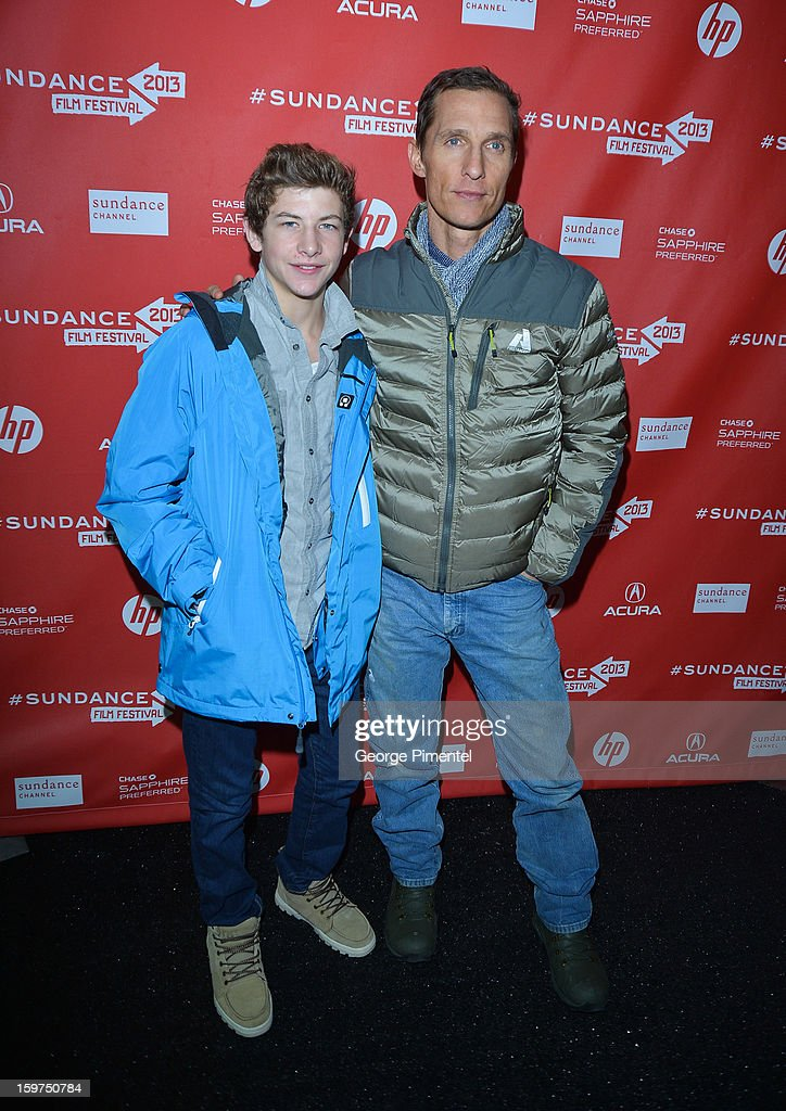 Actors <a gi-track='captionPersonalityLinkClicked' href=/galleries/search?phrase=Matthew+McConaughey&family=editorial&specificpeople=201663 ng-click='$event.stopPropagation()'>Matthew McConaughey</a> (R) and Tye Sheridan arrive at the 2013 Sundance Film Festival Premiere of 'Mud' at The Marc Theatre on January 19, 2013 in Park City, Utah.