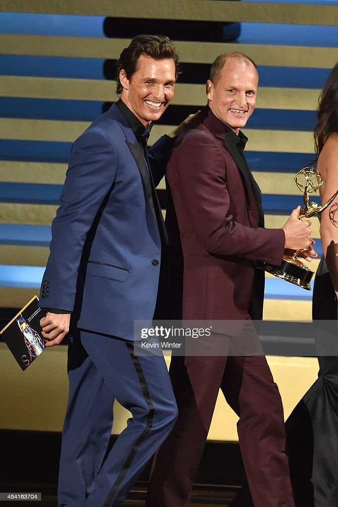 Actors Matthew McConaughey and Woody Harrelson walk onstage at the 66th Annual Primetime Emmy Awards held at Nokia Theatre LA Live on August 25 2014...