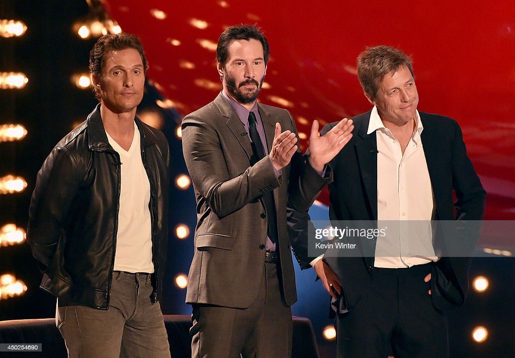 Actors Matthew McConaughey, Keanu Reeves and Hugh Grant speak onstage during Spike TV's 'Guys Choice 2014' at Sony Pictures Studios on June 7, 2014 in Culver City, California.