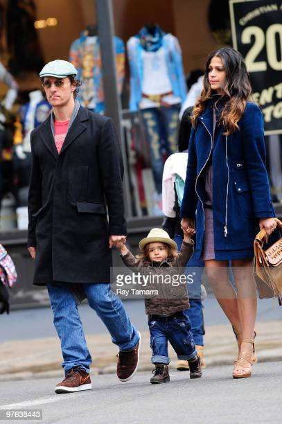 Actors Matthew McConaughey Levi McConaughey and Camila Alves walk in Soho on March 11 2010 in New York City