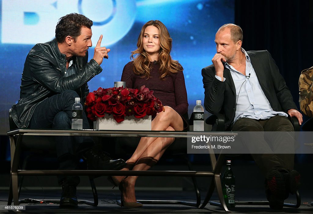 Actors Matthew McConaughey, Michelle Monaghan and Woody Harrelson speak onstage during the 'True Detective' panel discussion at the HBO portion of the 2014 Winter Television Critics Association tour at the Langham Hotel on January 9, 2014 in Pasadena, California.