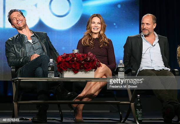 Actors Matthew McConaughey Michelle Monaghan and Woody Harrelson speak onstage during the 'True Detective' panel discussion at the HBO portion of the...