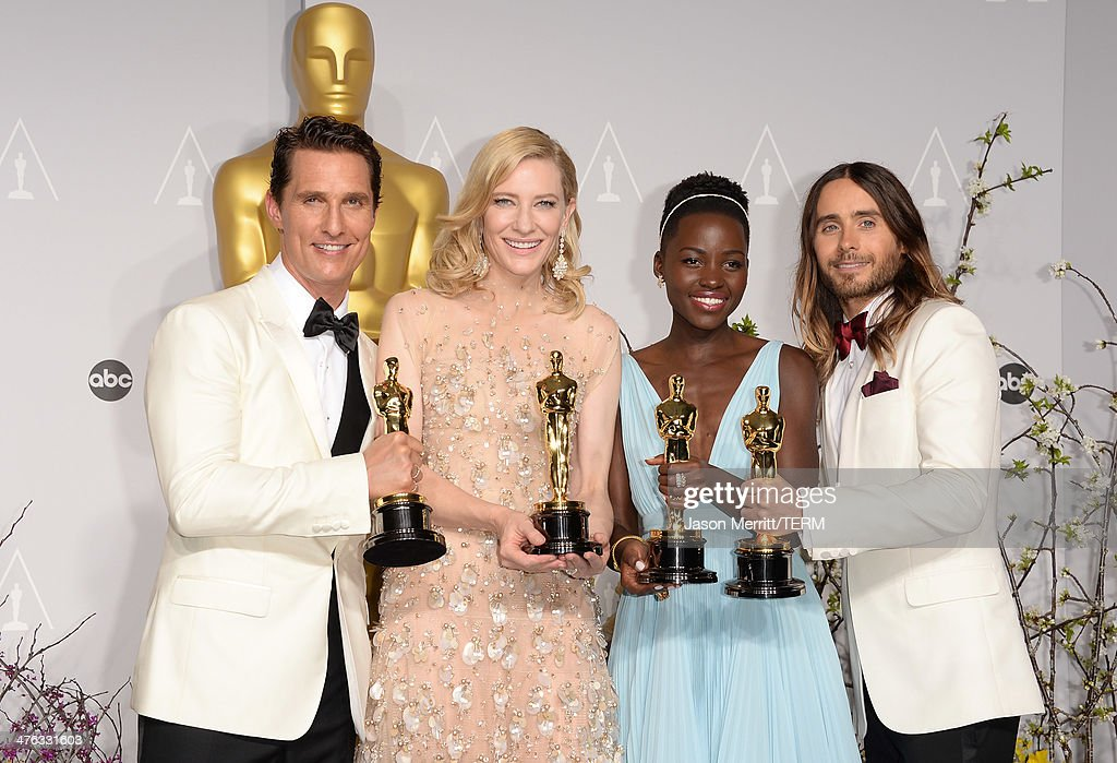 Actors <a gi-track='captionPersonalityLinkClicked' href=/galleries/search?phrase=Matthew+McConaughey&family=editorial&specificpeople=201663 ng-click='$event.stopPropagation()'>Matthew McConaughey</a> winner of Best Performance by an Actor in a Leading Role, <a gi-track='captionPersonalityLinkClicked' href=/galleries/search?phrase=Cate+Blanchett&family=editorial&specificpeople=201621 ng-click='$event.stopPropagation()'>Cate Blanchett</a> winner of Best Performance by an Actress in a Leading Role, <a gi-track='captionPersonalityLinkClicked' href=/galleries/search?phrase=Lupita+Nyong%27o&family=editorial&specificpeople=10961876 ng-click='$event.stopPropagation()'>Lupita Nyong'o</a> winner of Best Performance by an Actress in a Supporting Role and <a gi-track='captionPersonalityLinkClicked' href=/galleries/search?phrase=Jared+Leto&family=editorial&specificpeople=214764 ng-click='$event.stopPropagation()'>Jared Leto</a> winner of Best Performance by an Actor in a Supporting Role pose in the press room during the Oscars at Loews Hollywood Hotel on March 2, 2014 in Hollywood, California.