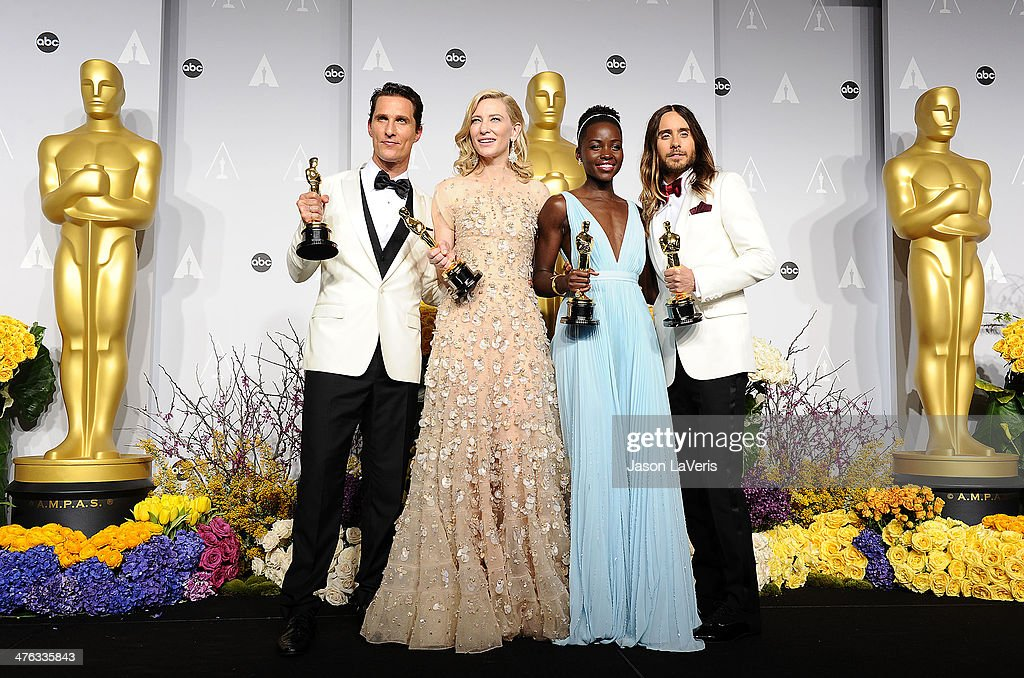 Actors Matthew McConaughey winner of Best Performance by an Actor in a Leading Role, Cate Blanchett winner of Best Performance by an Actress in a Leading Role, Lupita Nyong'o winner of Best Performance by an Actress in a Supporting Role and Jared Leto winner of Best Performance by an Actor in a Supporting Role pose in the press room at the 86th annual Academy Awards at Dolby Theatre on March 2, 2014 in Hollywood, California.