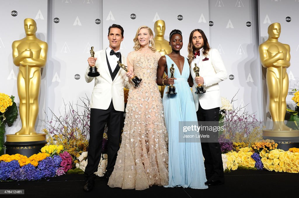 Actors <a gi-track='captionPersonalityLinkClicked' href=/galleries/search?phrase=Matthew+McConaughey&family=editorial&specificpeople=201663 ng-click='$event.stopPropagation()'>Matthew McConaughey</a> winner of Best Performance by an Actor in a Leading Role, <a gi-track='captionPersonalityLinkClicked' href=/galleries/search?phrase=Cate+Blanchett&family=editorial&specificpeople=201621 ng-click='$event.stopPropagation()'>Cate Blanchett</a> winner of Best Performance by an Actress in a Leading Role, <a gi-track='captionPersonalityLinkClicked' href=/galleries/search?phrase=Lupita+Nyong%27o&family=editorial&specificpeople=10961876 ng-click='$event.stopPropagation()'>Lupita Nyong'o</a> winner of Best Performance by an Actress in a Supporting Role and <a gi-track='captionPersonalityLinkClicked' href=/galleries/search?phrase=Jared+Leto&family=editorial&specificpeople=214764 ng-click='$event.stopPropagation()'>Jared Leto</a> winner of Best Performance by an Actor in a Supporting Role pose in the press room at the 86th annual Academy Awards at Dolby Theatre on March 2, 2014 in Hollywood, California.