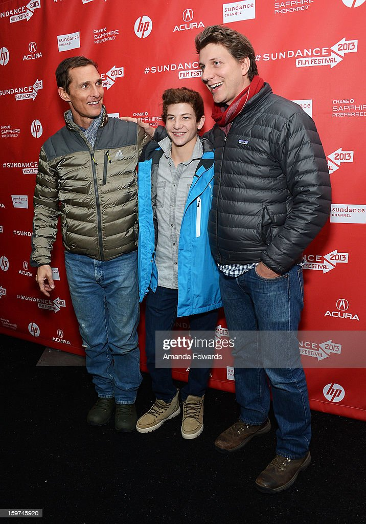 Actors <a gi-track='captionPersonalityLinkClicked' href=/galleries/search?phrase=Matthew+McConaughey&family=editorial&specificpeople=201663 ng-click='$event.stopPropagation()'>Matthew McConaughey</a>,Tye Sheridan and director <a gi-track='captionPersonalityLinkClicked' href=/galleries/search?phrase=Jeff+Nichols+-+Director&family=editorial&specificpeople=7451429 ng-click='$event.stopPropagation()'>Jeff Nichols</a> arrive at the 2013 Sundance Film Festival Premiere of 'Mud' at The Marc Theatre on January 19, 2013 in Park City, Utah.