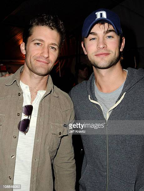 Actors Matthew Morrison and Chace Crawford attends DIRECTV's Fifth Annual Celebrity Beach Bowl at Victory Park on February 5 2011 in Dallas Texas