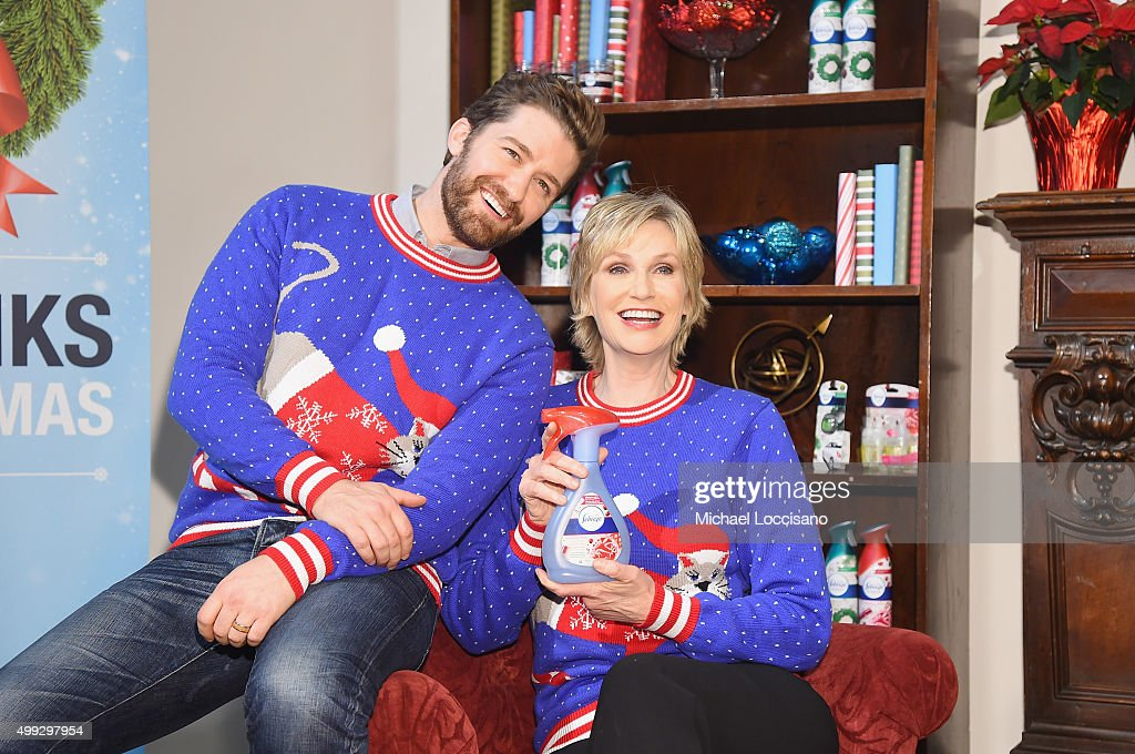 Actors Matthew Morrison and Jane Lynch attend 'The Of Christmas' Video Debut at Lightbox on November 30 2015 in New York City