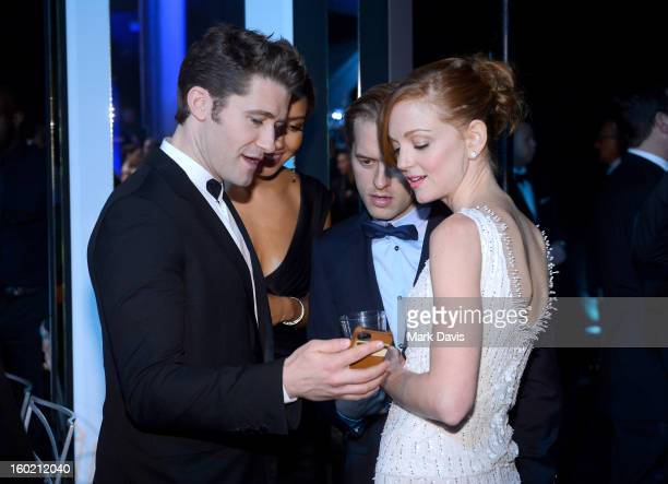 Actors Matthew Morrison and Jayma Mays attend the 19th Annual Screen Actors Guild Awards cocktail reception at The Shrine Auditorium on January 27...