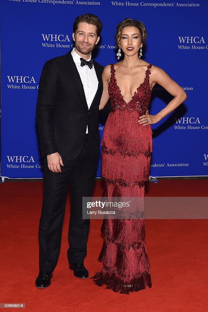 Actors Matthew Morrison (L) and Renee Puente attend the 102nd White House Correspondents' Association Dinner on April 30, 2016 in Washington, DC.